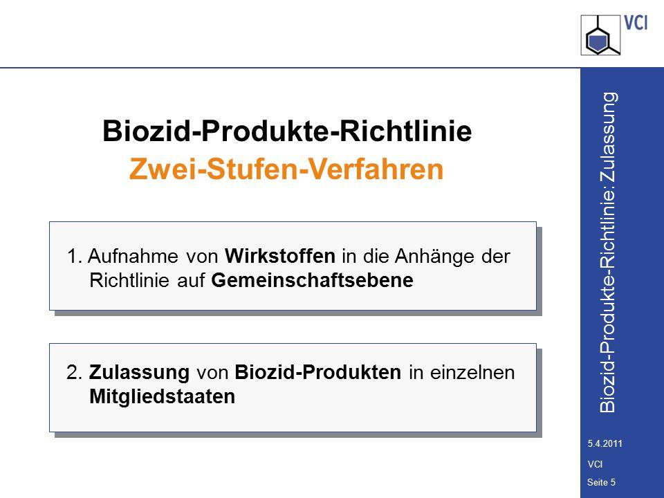 Biozid-Produkte-Richtlinie: Zulassung Seite 6 5.4.2011 VCI Biozid-Produkte-Richtlinie Zwei-Stufen-Verfahren 2.