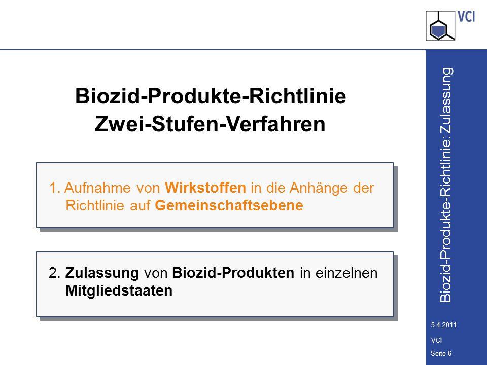 Biozid-Produkte-Richtlinie: Zulassung Seite 7 5.4.2011 VCI 10-Jahresprogramm zur Überprüfung der Wirkstoffe Zehn-Jahres-Arbeitsprogramm der Kommission zur systematischen Prüfung aller Wirkstoffe, die vor dem 14.