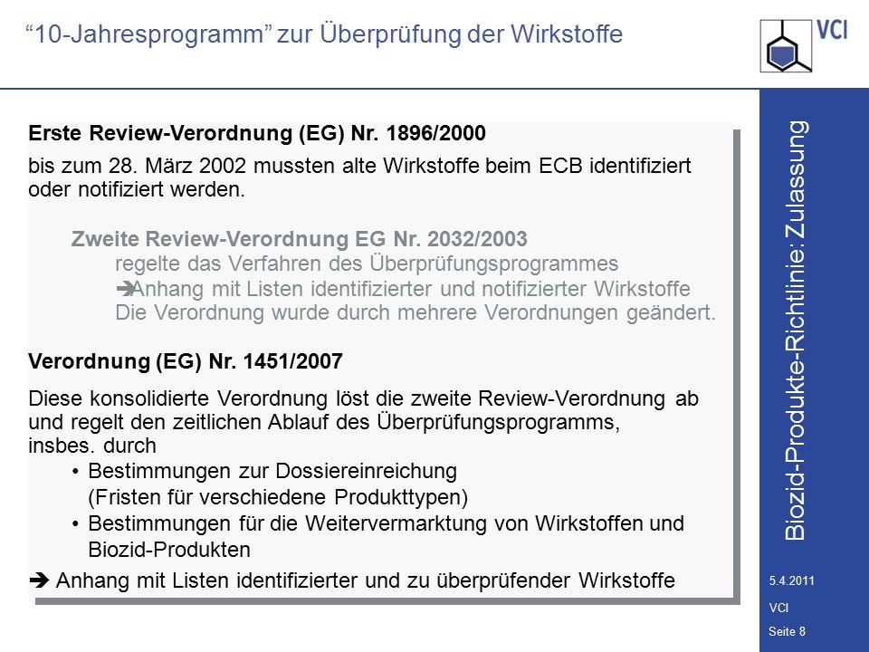 Biozid-Produkte-Richtlinie: Zulassung Seite 9 5.4.2011 VCI 10-Jahresprogramm zur Überprüfung der Wirkstoffe Fristen zur Dossiereinreichung gemäß Art.