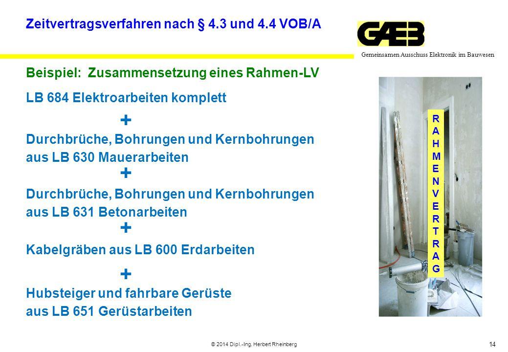 14 Gemeinsamen Ausschuss Elektronik im Bauwesen © 2014 Dipl.-Ing. Herbert Rheinberg RAHMENVERTRAGRAHMENVERTRAG Zeitvertragsverfahren nach § 4.3 und 4.