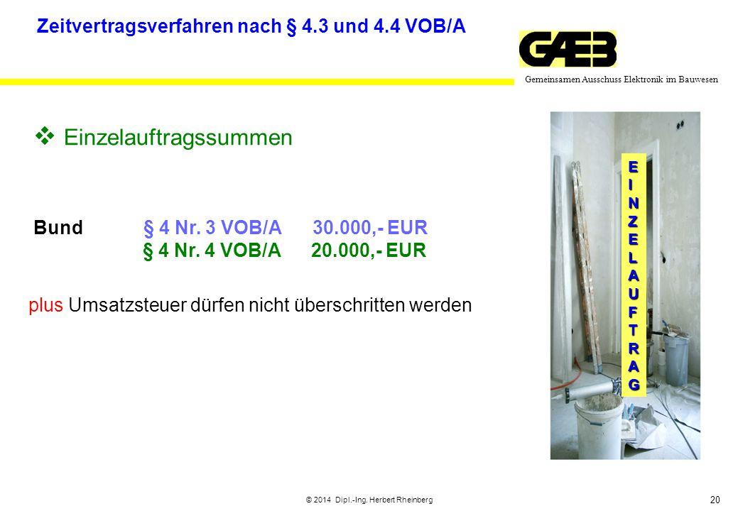 20 Gemeinsamen Ausschuss Elektronik im Bauwesen © 2014 Dipl.-Ing. Herbert Rheinberg EINZELAUFTRAG  Einzelauftragssummen Bund§ 4 Nr. 3 VOB/A 30.000,-