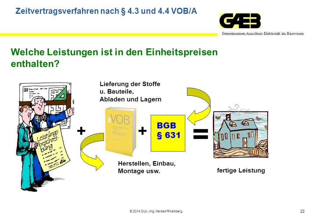 22 Gemeinsamen Ausschuss Elektronik im Bauwesen © 2014 Dipl.-Ing. Herbert Rheinberg Welche Leistungen ist in den Einheitspreisen enthalten? Lieferung
