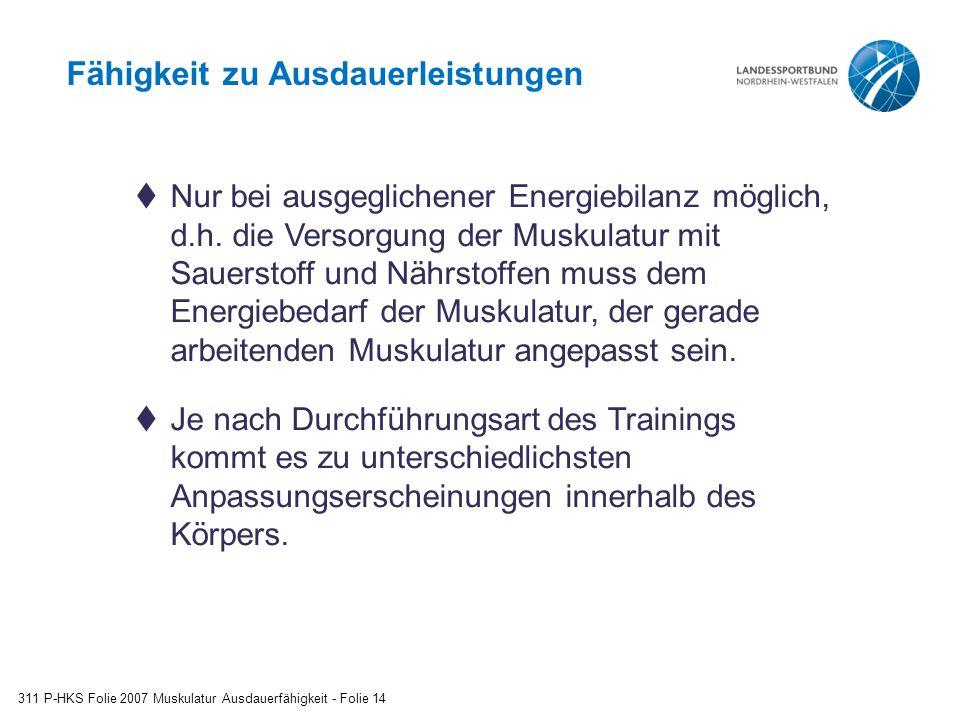 Fähigkeit zu Ausdauerleistungen 311 P-HKS Folie 2007 Muskulatur Ausdauerfähigkeit - Folie 14  Nur bei ausgeglichener Energiebilanz möglich, d.h.