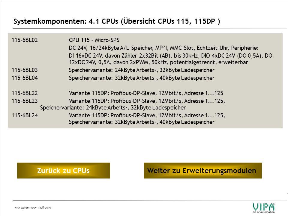 VIPA System 100V | Juli 2010 Systemkomponenten: 4.1 CPUs (Übersicht CPUs 115, 115DP ) 115-6BL02CPU 115 - Micro-SPS DC 24V, 16/24kByte A/L-Speicher, MP²I, MMC-Slot, Echtzeit-Uhr, Peripherie: DI 16xDC 24V, davon Zähler 2x32Bit (AB), bis 30kHz, DIO 4xDC 24V (DO 0,5A), DO 12xDC 24V, 0,5A, davon 2xPWM, 50kHz, potentialgetrennt, erweiterbar 115-6BL03Speichervariante: 24kByte Arbeits-, 32kByte Ladespeicher 115-6BL04Speichervariante: 32kByte Arbeits-, 40kByte Ladespeicher 115-6BL22Variante 115DP: Profibus-DP-Slave, 12Mbit/s, Adresse 1...125 115-6BL23Variante 115DP: Profibus-DP-Slave, 12Mbit/s, Adresse 1...125, Speichervariante: 24kByte Arbeits-, 32kByte Ladespeicher 115-6BL24Variante 115DP: Profibus-DP-Slave, 12Mbit/s, Adresse 1...125, Speichervariante: 32kByte Arbeits-, 40kByte Ladespeicher Zur ü ck zu CPUsWeiter zu Erweiterungsmodulen