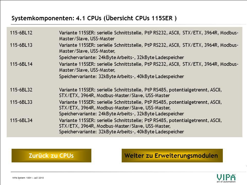 VIPA System 100V | Juli 2010 Systemkomponenten: 4.1 CPUs (Übersicht CPUs 115SER ) 115-6BL12Variante 115SER: serielle Schnittstelle, PtP RS232, ASCII, STX/ETX, 3964R, Modbus- Master/Slave, USS-Master 115-6BL13Variante 115SER: serielle Schnittstelle, PtP RS232, ASCII, STX/ETX, 3964R, Modbus- Master/Slave, USS-Master, Speichervariante: 24kByte Arbeits-, 32kByte Ladespeicher 115-6BL14Variante 115SER: serielle Schnittstelle, PtP RS232, ASCII, STX/ETX, 3964R, Modbus- Master/Slave, USS-Master, Speichervariante: 32kByte Arbeits-, 40kByte Ladespeicher 115-6BL32Variante 115SER: serielle Schnittstelle, PtP RS485, potentialgetrennt, ASCII, STX/ETX, 3964R, Modbus-Master/Slave, USS-Master 115-6BL33Variante 115SER: serielle Schnittstelle, PtP RS485, potentialgetrennt, ASCII, STX/ETX, 3964R, Modbus-Master/Slave, USS-Master, Speichervariante: 24kByte Arbeits-, 32kByte Ladespeicher 115-6BL34Variante 115SER: serielle Schnittstelle; PtP RS485, potentialgetrennt, ASCII, STX/ETX, 3964R, Modbus-Master/Slave, USS-Master, Speichervariante: 32kByte Arbeits-, 40kByte Ladespeicher Zur ü ck zu CPUsWeiter zu Erweiterungsmodulen