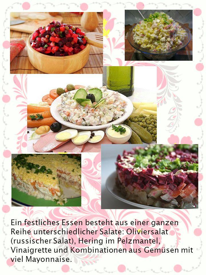 Ein festliches Essen besteht aus einer ganzen Reihe unterschiedlicher Salate: Oliviersalat (russischer Salat), Hering im Pelzmantel, Vinaigrette und K