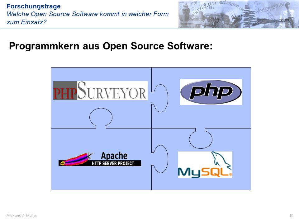 10 Alexander Müller Programmkern aus Open Source Software: Forschungsfrage Welche Open Source Software kommt in welcher Form zum Einsatz ...