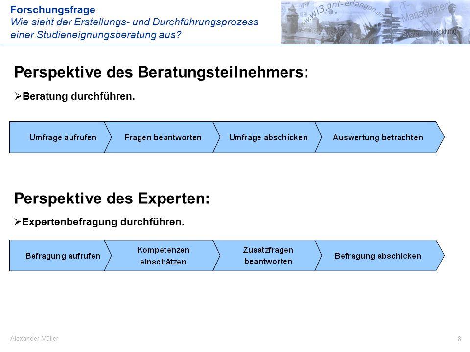 8 Alexander Müller Perspektive des Beratungsteilnehmers: Forschungsfrage Wie sieht der Erstellungs- und Durchführungsprozess einer Studieneignungsberatung aus.
