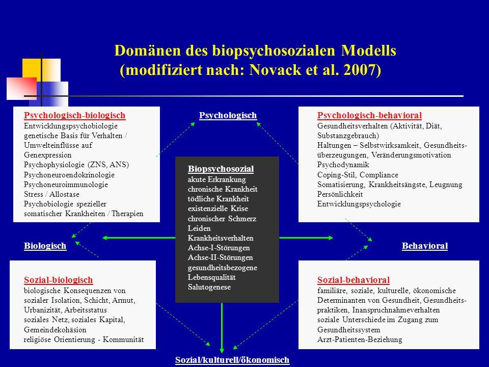 Domänen des biopsychosozialen Modells (modifiziert nach: Novack et al.