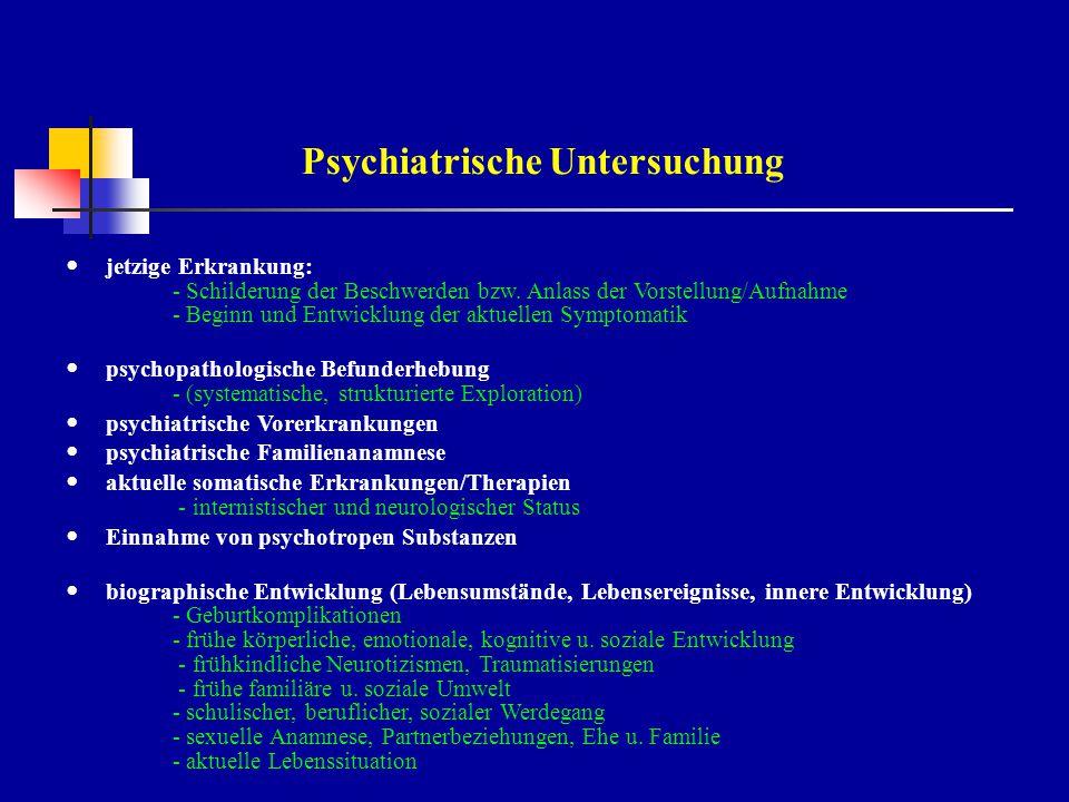 Erfassung psychopathologischer Symptome Äußeres Erscheinungsbild, Verhalten Bewusstsein - quantitaive/qualitative Störungen Orientierung - Zeit, Ort, Person Aufmerksamkeit, Konzentration, Auffassung Merkfähigkeit, Altzeitgedächtnis Intelligenz - Allgemeinwissen, Denkleistung Formales Denken Wahrnehmung - Halluzinationen (akustisch, optisch u.