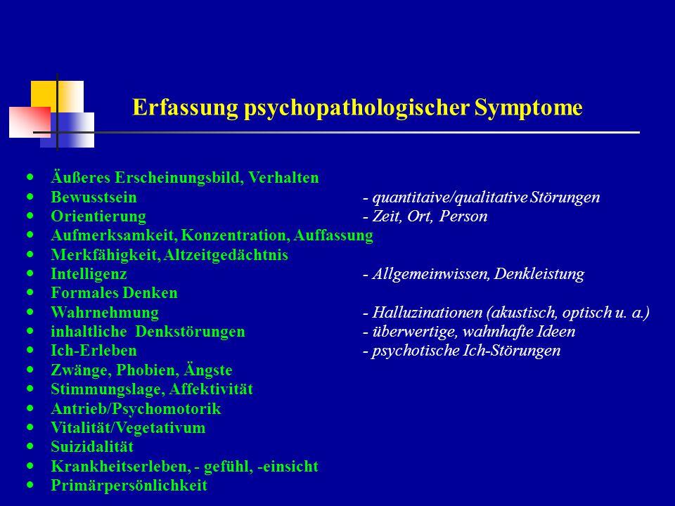 Diagnostische Überlegungen Welches Syndrom steht im Vordergrund des psychopathologischen Status.