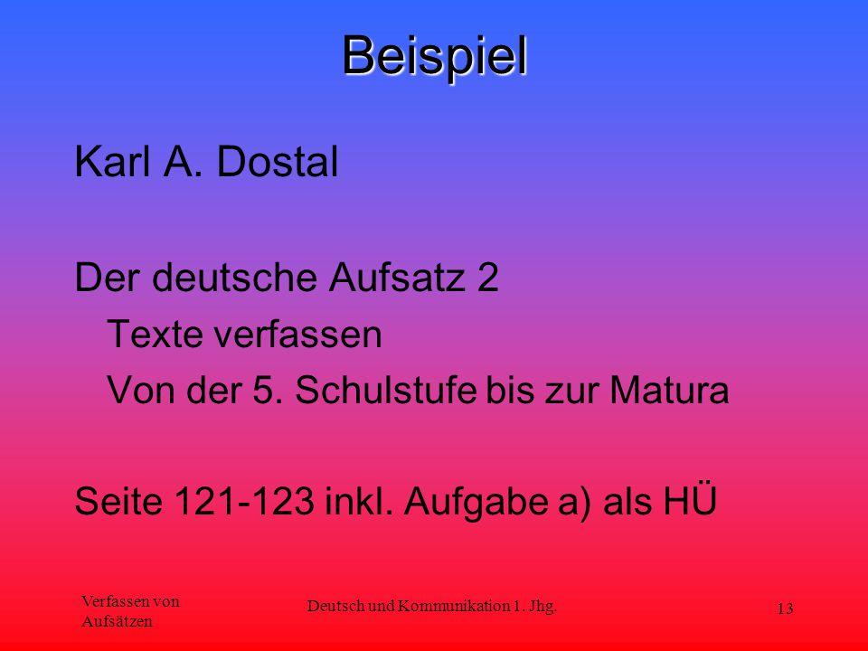 Verfassen von Aufsätzen Deutsch und Kommunikation 1. Jhg. 13Beispiel Karl A. Dostal Der deutsche Aufsatz 2 Texte verfassen Von der 5. Schulstufe bis z