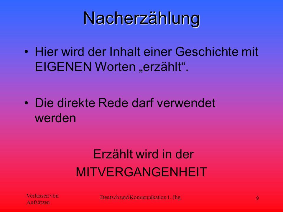 """Verfassen von Aufsätzen Deutsch und Kommunikation 1. Jhg. 9Nacherzählung Hier wird der Inhalt einer Geschichte mit EIGENEN Worten """"erzählt"""". Die direk"""