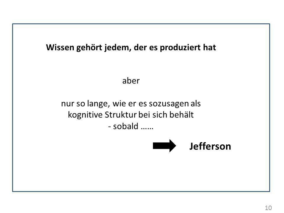 10 Wissen gehört jedem, der es produziert hat aber nur so lange, wie er es sozusagen als kognitive Struktur bei sich behält - sobald …… Jefferson