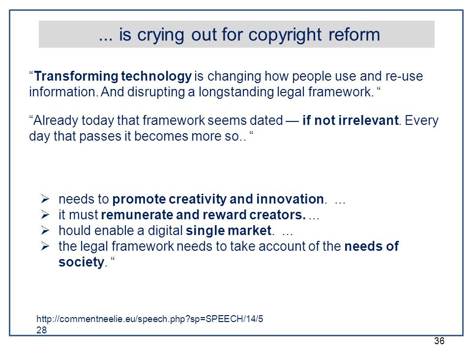 "36... is crying out for copyright reform ""Transforming technology is changing how people use and re-use information. And disrupting a longstanding leg"