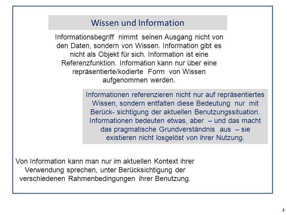 4 Informationsbegriff nimmt seinen Ausgang nicht von den Daten, sondern von Wissen. Information gibt es nicht als Objekt für sich. Information ist ein