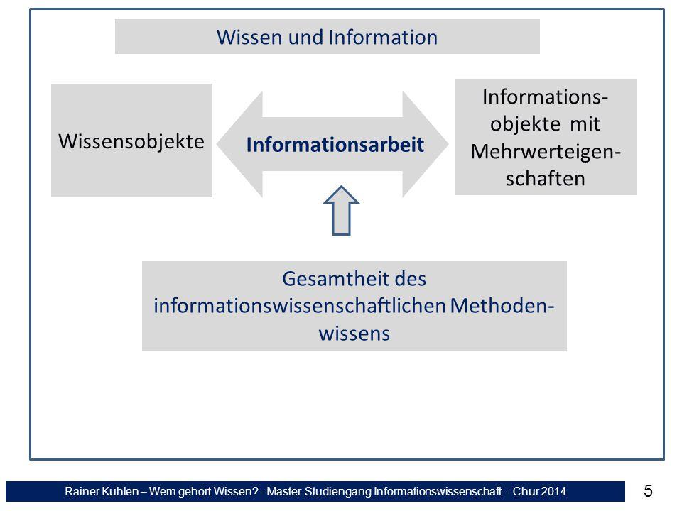 Rainer Kuhlen – Wem gehört Wissen? - Master-Studiengang Informationswissenschaft - Chur 2014 5 Wissen und Information Wissensobjekte Informations- obj