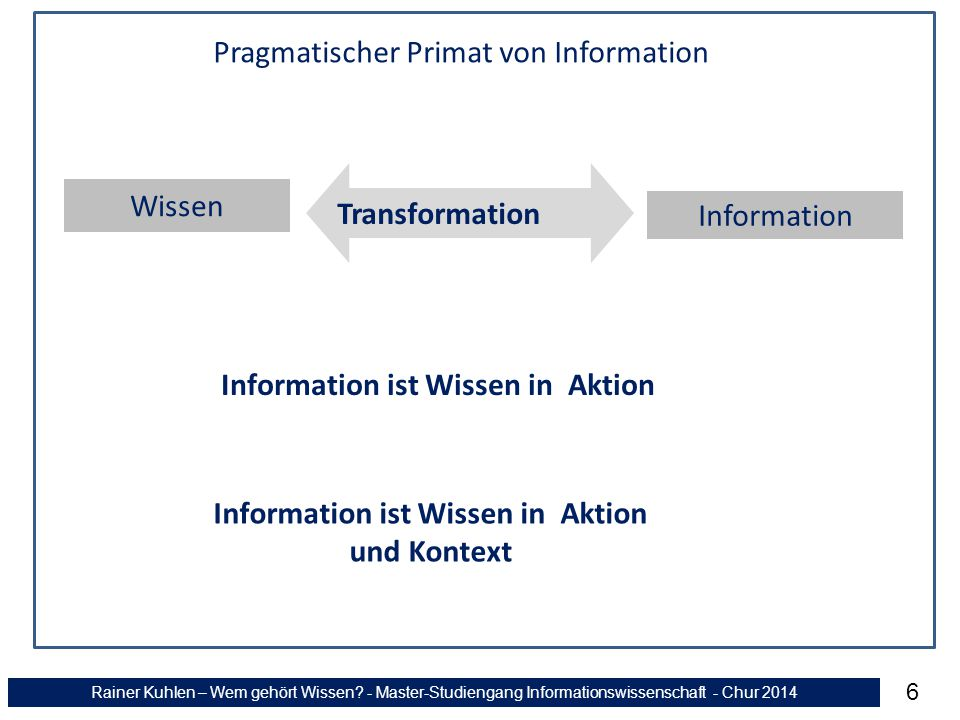 Rainer Kuhlen – Wem gehört Wissen? - Master-Studiengang Informationswissenschaft - Chur 2014 6 Wissen Information Transformation Information ist Wisse