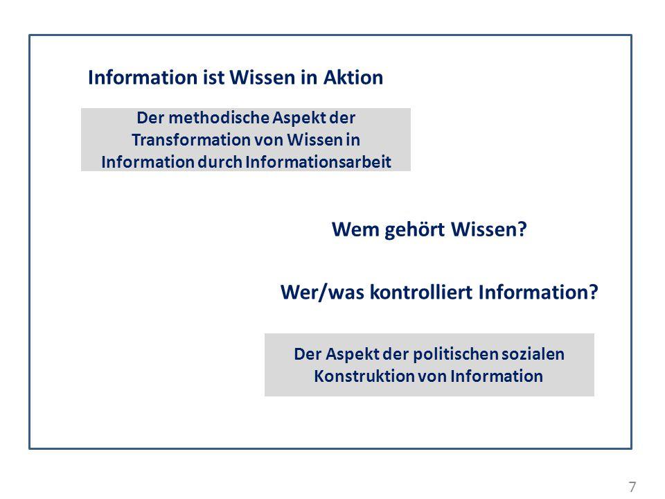 7 Information ist Wissen in Aktion Der Aspekt der politischen sozialen Konstruktion von Information Wem gehört Wissen? Wer/was kontrolliert Informatio