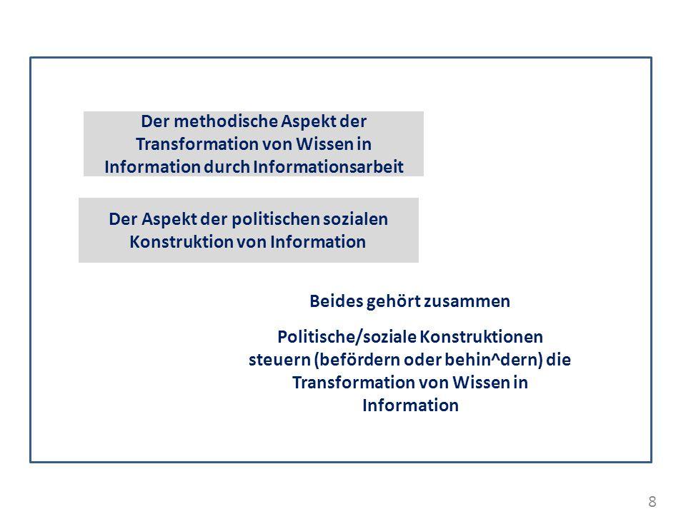 8 Der Aspekt der politischen sozialen Konstruktion von Information Beides gehört zusammen Politische/soziale Konstruktionen steuern (befördern oder be