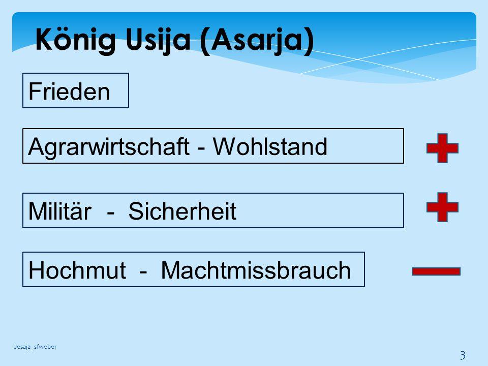 König Usija (Asarja) Jesaja_sfweber 4 Eingriff in den Priesterdienst Königtum u.
