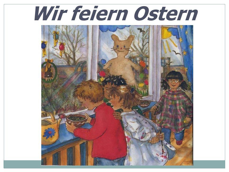 Ostersymbols Die Osterkerze Der Osterzopf Die bemalten Eier Das Ostergras Der Osterhase