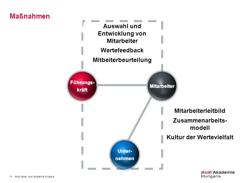 14Alois Kauer, Audi Akademie Hungaria Maßnahmen Auswahl und Entwicklung von Mitarbeiter Wertefeedback Mitbeiterbeurteilung Mitarbeiterleitbild Zusamme