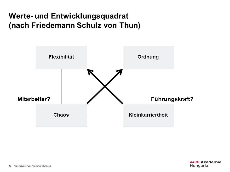 18Alois Kauer, Audi Akademie Hungaria Werte- und Entwicklungsquadrat (nach Friedemann Schulz von Thun) FlexibilitätOrdnung KleinkarriertheitChaos Mita