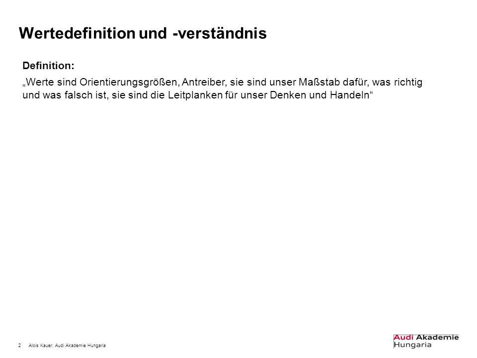 """2Alois Kauer, Audi Akademie Hungaria Wertedefinition und -verständnis Definition: """"Werte sind Orientierungsgrößen, Antreiber, sie sind unser Maßstab d"""