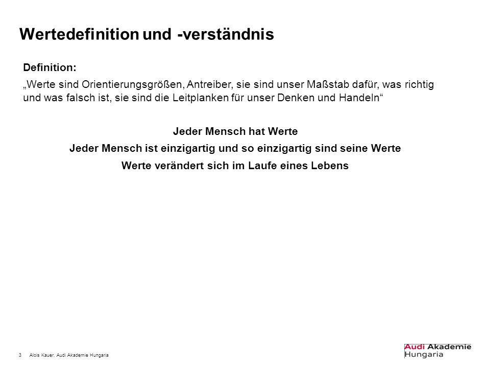 """3Alois Kauer, Audi Akademie Hungaria Wertedefinition und -verständnis Definition: """"Werte sind Orientierungsgrößen, Antreiber, sie sind unser Maßstab d"""