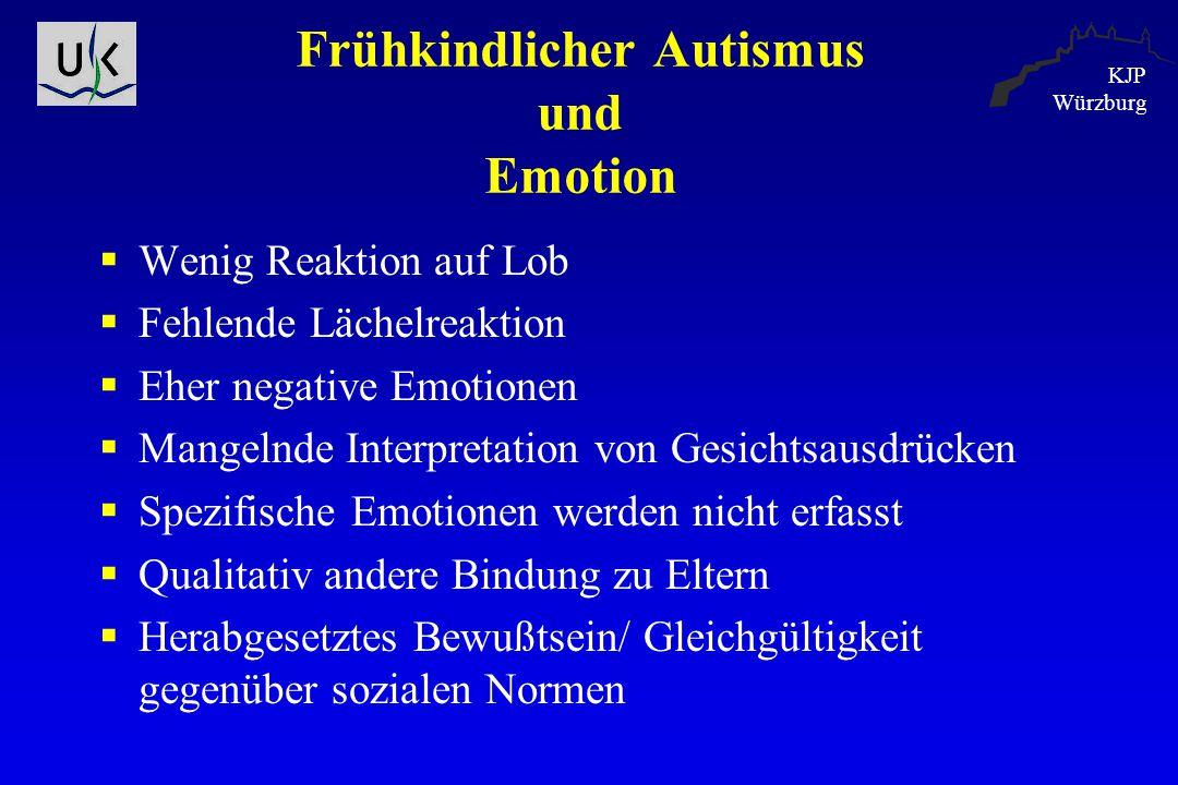 KJP Würzburg Frühkindlicher Autismus und Emotion  Wenig Reaktion auf Lob  Fehlende Lächelreaktion  Eher negative Emotionen  Mangelnde Interpretati