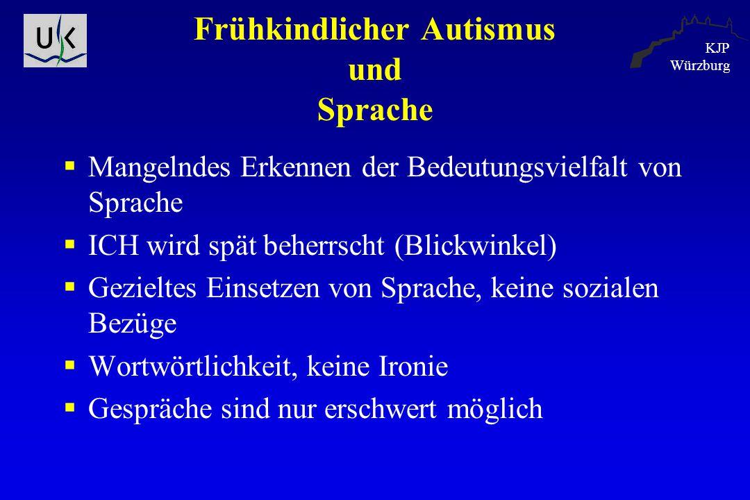 KJP Würzburg Frühkindlicher Autismus und Sprache  Mangelndes Erkennen der Bedeutungsvielfalt von Sprache  ICH wird spät beherrscht (Blickwinkel)  G
