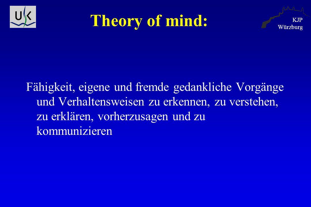 KJP Würzburg Theory of mind: Fähigkeit, eigene und fremde gedankliche Vorgänge und Verhaltensweisen zu erkennen, zu verstehen, zu erklären, vorherzusa