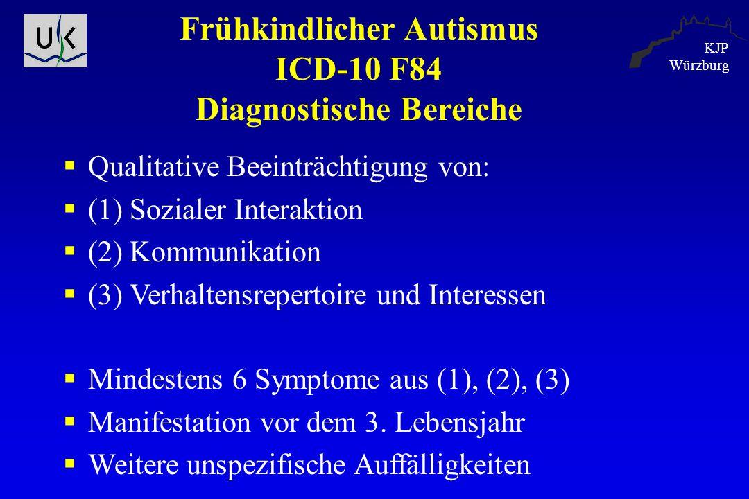 KJP Würzburg Frühkindlicher Autismus ICD-10 F84 Diagnostische Bereiche  Qualitative Beeinträchtigung von:  (1) Sozialer Interaktion  (2) Kommunikat