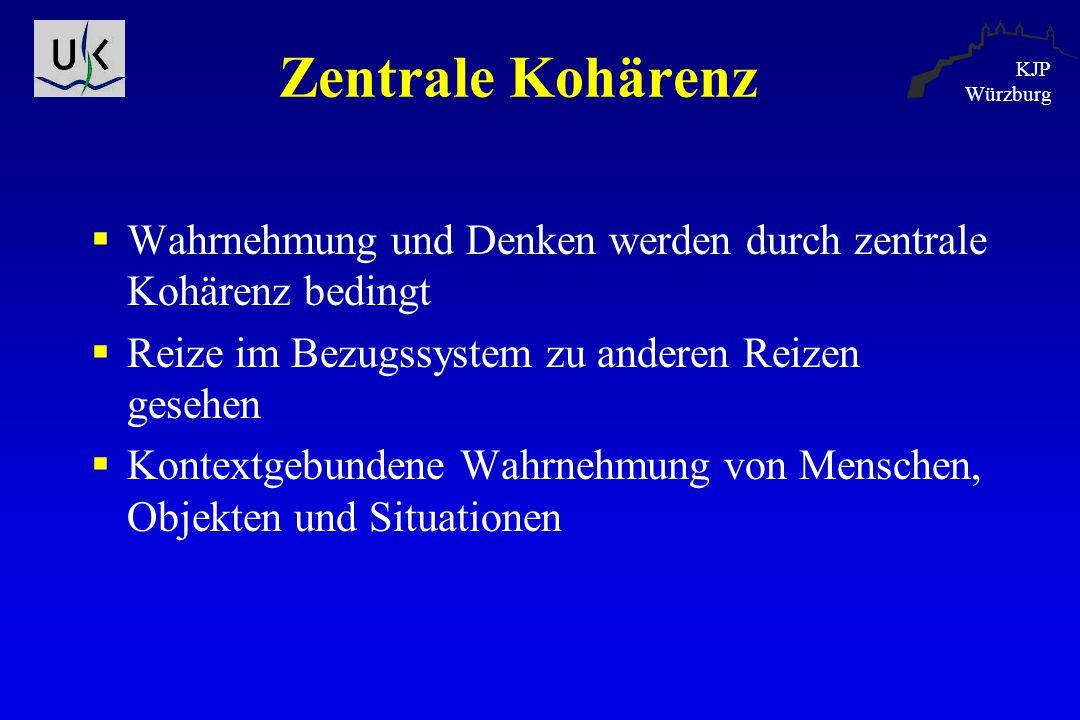KJP Würzburg Zentrale Kohärenz  Wahrnehmung und Denken werden durch zentrale Kohärenz bedingt  Reize im Bezugssystem zu anderen Reizen gesehen  Kon