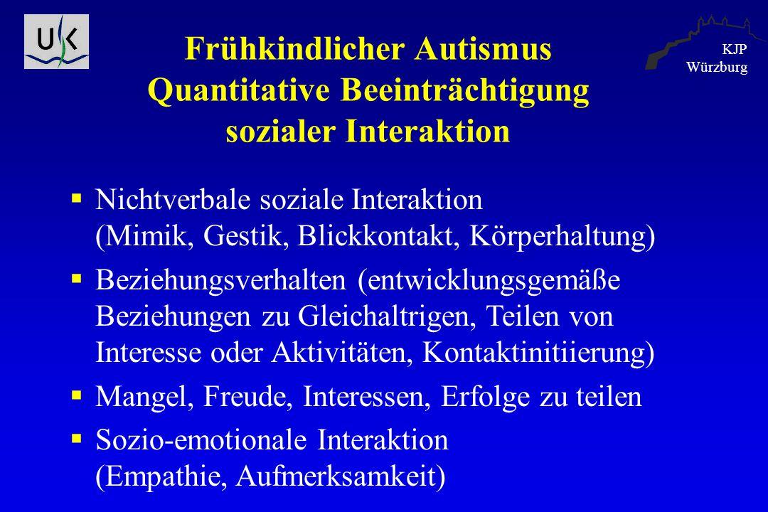 KJP Würzburg Frühkindlicher Autismus Quantitative Beeinträchtigung sozialer Interaktion  Nichtverbale soziale Interaktion (Mimik, Gestik, Blickkontak