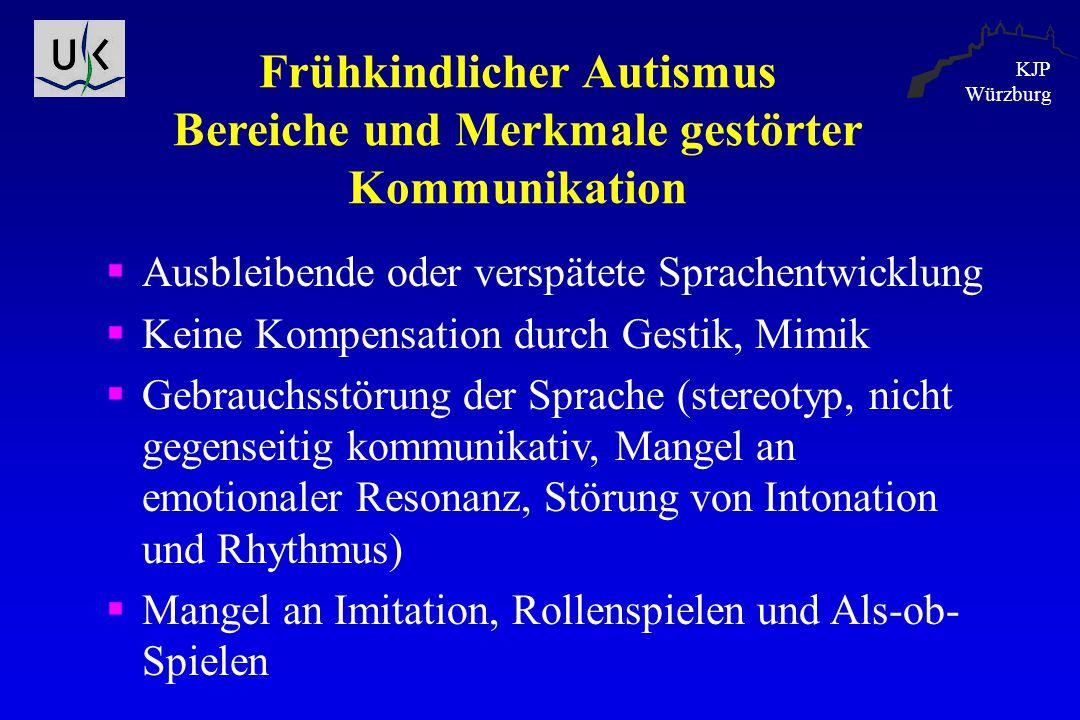 KJP Würzburg Frühkindlicher Autismus Bereiche und Merkmale gestörter Kommunikation  Ausbleibende oder verspätete Sprachentwicklung  Keine Kompensati