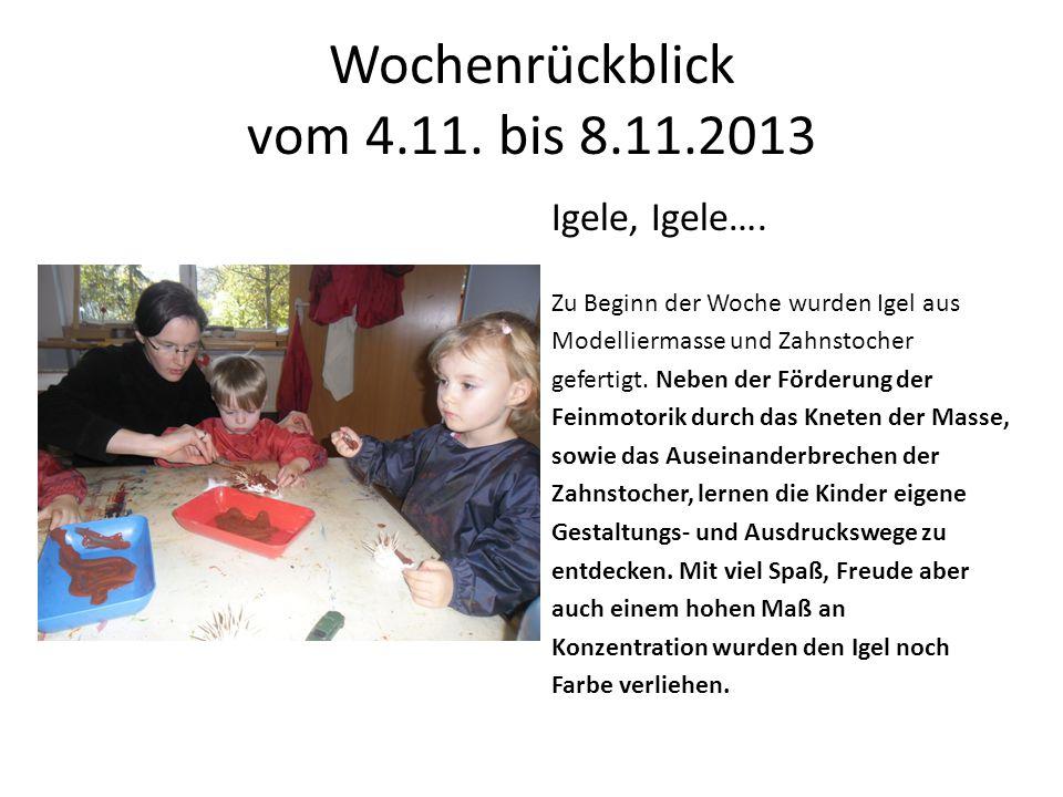 Wochenrückblick vom 4.11. bis 8.11.2013 Igele, Igele…. Zu Beginn der Woche wurden Igel aus Modelliermasse und Zahnstocher gefertigt. Neben der Förderu