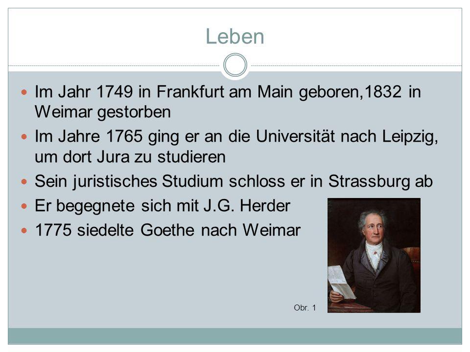 Leben Im Jahr 1749 in Frankfurt am Main geboren,1832 in Weimar gestorben Im Jahre 1765 ging er an die Universität nach Leipzig, um dort Jura zu studie