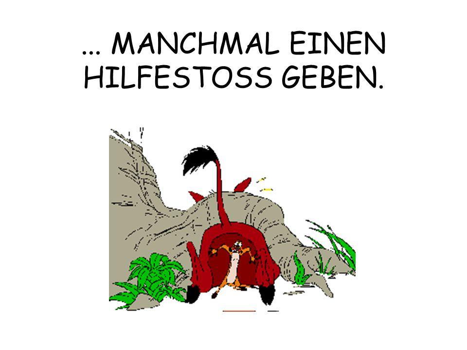 ... MANCHMAL EINEN HILFESTOSS GEBEN.