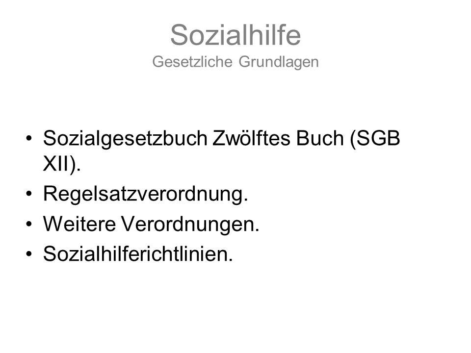 Sozialhilfe Gesetzliche Grundlagen Sozialgesetzbuch Zwölftes Buch (SGB XII). Regelsatzverordnung. Weitere Verordnungen. Sozialhilferichtlinien.