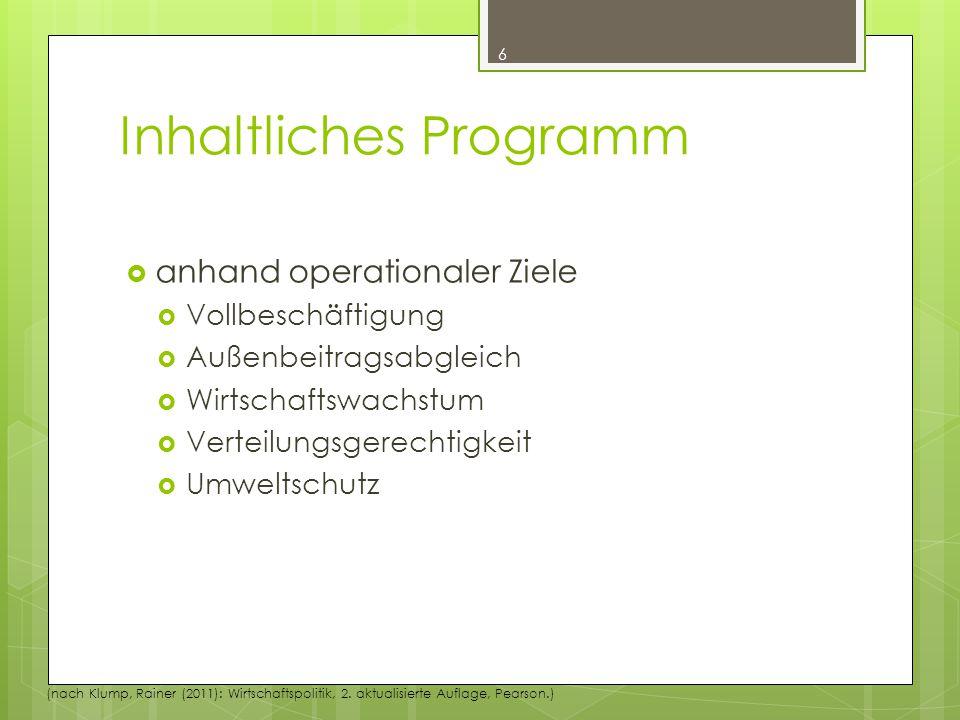 Inhaltliches Programm  anhand operationaler Ziele  Vollbeschäftigung  Außenbeitragsabgleich  Wirtschaftswachstum  Verteilungsgerechtigkeit  Umweltschutz 6 (nach Klump, Rainer (2011): Wirtschaftspolitik, 2.