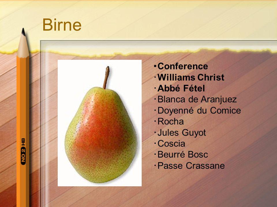 Birne ・ Conference ・ Williams Christ ・ Abbé Fétel ・ Blanca de Aranjuez ・ Doyenné du Comice ・ Rocha ・ Jules Guyot ・ Coscia ・ Beurré Bosc ・ Passe Crassa