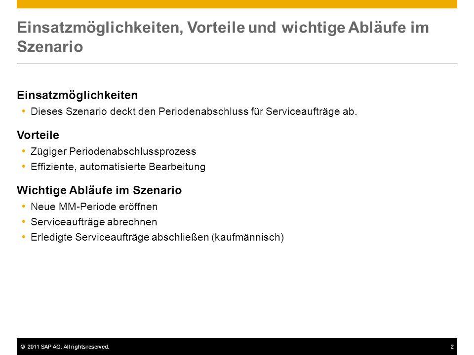 ©2011 SAP AG. All rights reserved.2 Einsatzmöglichkeiten, Vorteile und wichtige Abläufe im Szenario Einsatzmöglichkeiten  Dieses Szenario deckt den P