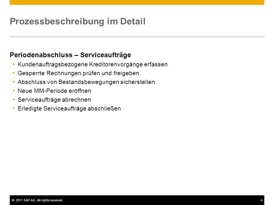 ©2011 SAP AG. All rights reserved.4 Prozessbeschreibung im Detail Periodenabschluss – Serviceaufträge  Kundenauftragsbezogene Kreditorenvorgänge erfa