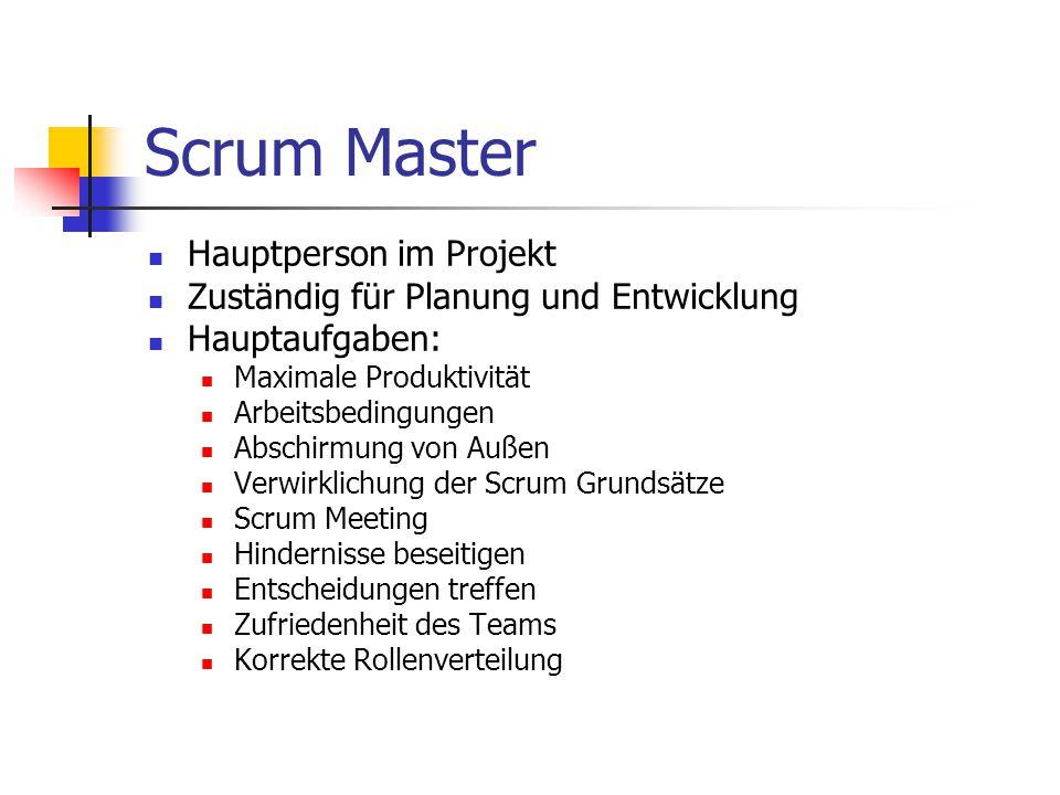 Scrum Master Hauptperson im Projekt Zuständig für Planung und Entwicklung Hauptaufgaben: Maximale Produktivität Arbeitsbedingungen Abschirmung von Auß