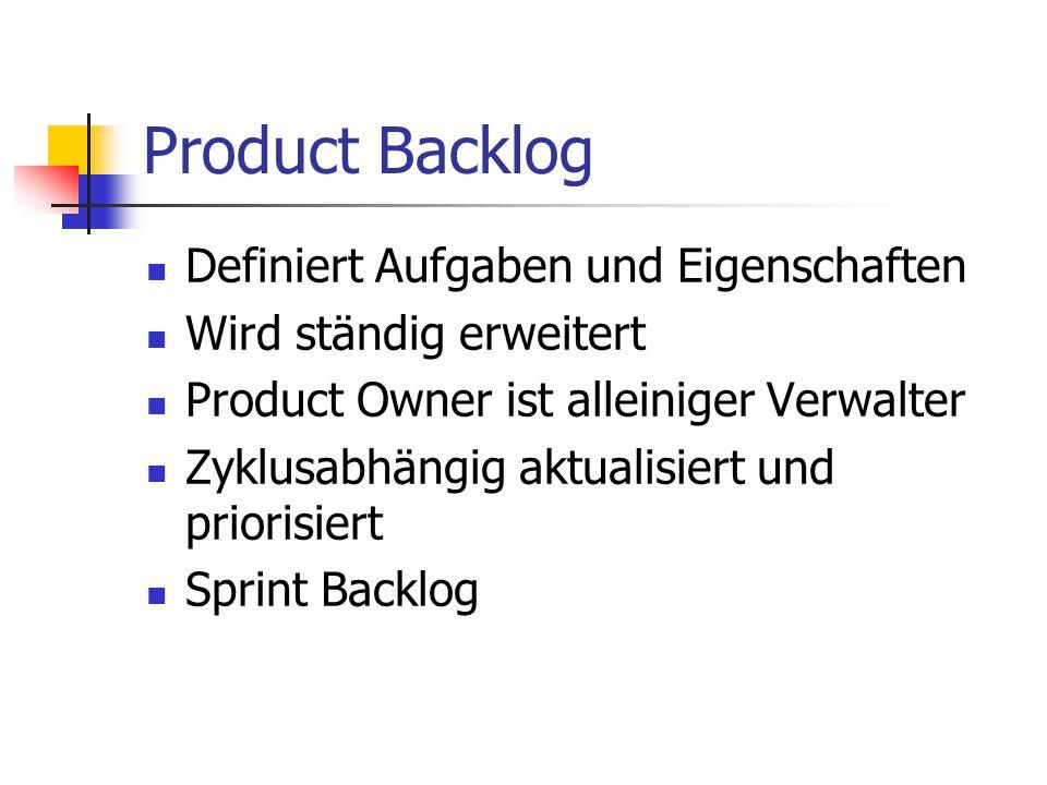 Product Backlog Definiert Aufgaben und Eigenschaften Wird ständig erweitert Product Owner ist alleiniger Verwalter Zyklusabhängig aktualisiert und pri