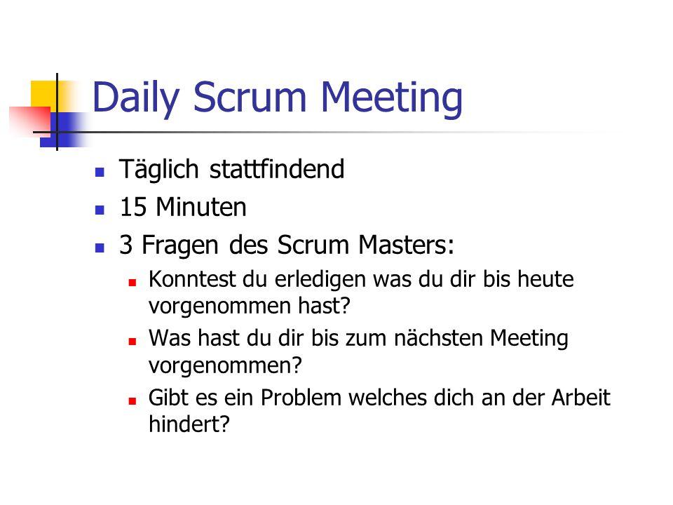 Daily Scrum Meeting Täglich stattfindend 15 Minuten 3 Fragen des Scrum Masters: Konntest du erledigen was du dir bis heute vorgenommen hast? Was hast
