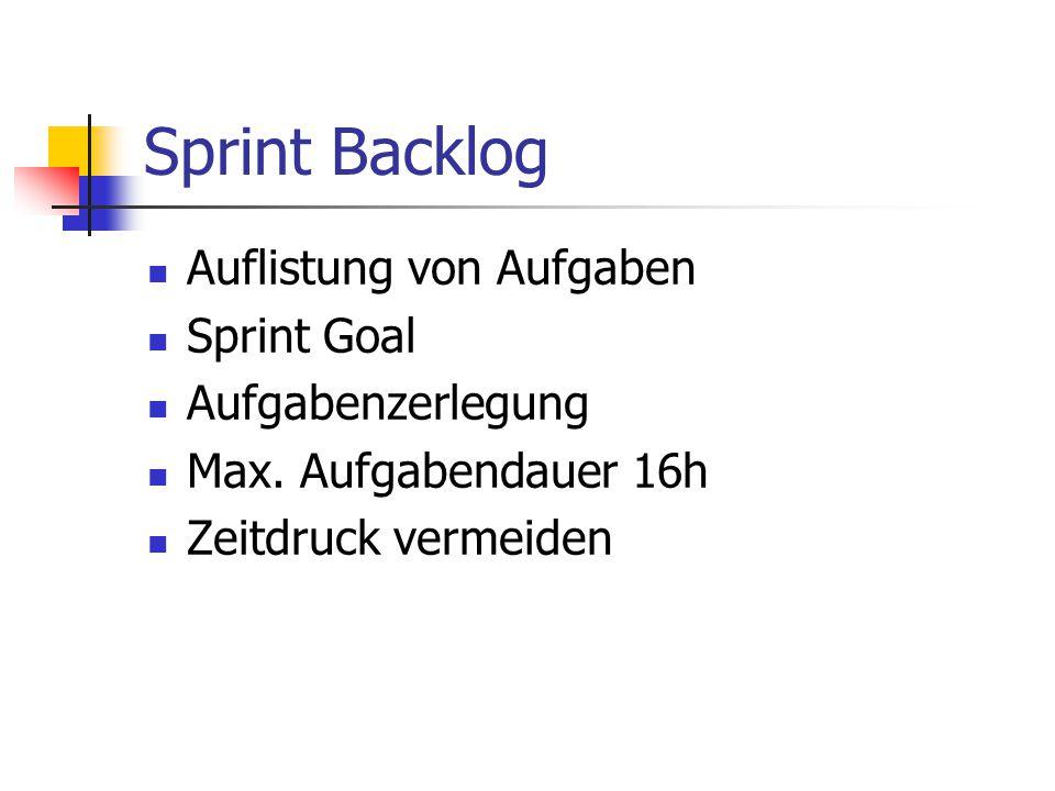 Sprint Backlog Auflistung von Aufgaben Sprint Goal Aufgabenzerlegung Max. Aufgabendauer 16h Zeitdruck vermeiden