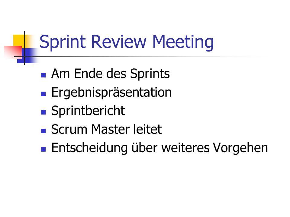 Sprint Review Meeting Am Ende des Sprints Ergebnispräsentation Sprintbericht Scrum Master leitet Entscheidung über weiteres Vorgehen